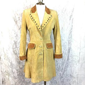 Scully Suede Leather Western Coat Studded Collar
